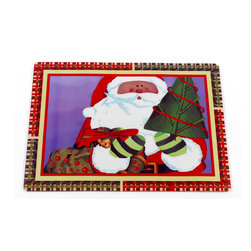 """Chris Kringle"" Holiday Place Mat, Set of 4 - Bring the holidays to your table with our ""Chris Kringle"" Placemat. The face of this festive placemat is made with easy-to-clean vinyl, while the underside is lined in slip-resistant foam.  Sold in a set of 4 placemats. Wipe clean with damp sponge"