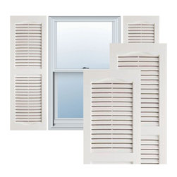 """Alpha Systems LLC - 14"""" x 25"""" Premium Vinyl Open Louver Shutters,w/Screws, Paintable - Our Builders Choice Vinyl Shutters are the perfect choice for inexpensively updating your home. With a solid wood look, wide color selection, and incomparable performance, exterior vinyl shutters are an ideal way to add beauty and charm to any home exterior. Everything is included with your vinyl shutter shipment. Color matching shutter screws and a beautiful new set of vinyl shutters."""
