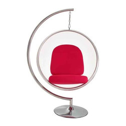 Modway - Ring Chair Chair With Red Pillows - Eei-111-Red - Clear Acrylic