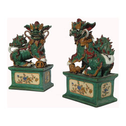 Golden Lotus - Pair Chinese Colorful Gorgeous Carved Clay FenShui Foo Dogs Statue - This is a beautiful pair of color painting clay foo dog. The male foo dog has an embroidered ball under its paw and the female has a baby foo dog. Its carving is very detail, even their paws, bodies, and face.