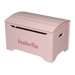 Little Colorado - Little Colorado Solid Wood Toy Storage Chest with Personalization - Soft Pink Fi - Shop for Childrens Toy Boxes and Storage from Hayneedle.com! If it's the Little Colorado Solid Wood Toy Storage Chest with Personalization - Soft Pink Finish then you can be sure that it's hers. In the face of this strong wooden chest will be her name in your choice of black blue green pink purple red or white text with vinyl letters. The arch-top lid moves on smooth and reliable hardware. Some assembly is required. Dimensions: 29L x 19W x 18H inches. Product weighs 37 lbs. Little Colorado is a Green CompanyAll finishes are water-based low-VOC made by Sherwin Williams and other American manufacturers. Wood raw materials come from environmentally responsible suppliers. MDF used is manufactured by Plum Creek and is certified green CARB-compliant and low-formaldehyde. All packing insulation is 100% post-consumer recycled. All shipping cartons are either 100% post-consumer recycled or are made of recycled cardboard. About Little ColoradoBegun in 1987 Little Colorado Inc. creates solid wood hand-crafted children's furniture. It's a family-owned business that takes pride in building products that are classic stylish and an excellent value. All Little Colorado products are proudly made in the U.S.A. with lead-free paints and materials. With a look that's very expensive but a price that is not Little Colorado products bring quality and affordability to your little one's room.