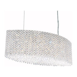Schonbek - Refrax Stainless Steel 17-Light Clear Spectra Crystal Pendant Light, 28W x 9.5H - -Spectra Crystal: Spectra Crystal is cut Swarovski crystal with reliable quality. Spectra Crystal has been a registered trademark since 1999 and offers the most important cuts in clear crystal.  - Shape and color define our lives. They define our style. They define Refrax. Dare to design with this versatile collection of pendants and sconces. Brilliant 5-inch cubes and columns will accent any room. Striking 4-foot crystal bars and walls will divide or define any space. Waves of colored crystal will transform any area into a contemporary studio. The Refrax collection is available in a vast array of Swarovski Elements colors or Spectra Crystal.  -Clear Spectra Crystal  - Wire Length (in inches): 144  - Fixture is cable hung  - Light Source: Halogen  - Bulbs not included  - Chain Length (in inches): 144  - Uses standard line volt dimmer  - Some assembly required  - Lead free crystal  - For shipping outside of USA, please contact Bellacor customer service  - Cleaning and Care Instructions: Every Schonbek product is of heirloom quality and will last for generations. To ensure it retains its brilliance and splendor for years to come, proper care and regular cleaning are necessary. It is recommended that Schonbek products, and particularly their crystal trim, be lightly dusted with a feather or lambswool duster, or soft brush every two months, or whenever it appears dull or dusty. Consult the fixtures trim diagram for detailed cleaning instructions list of approved cleaning solutions. Schonbeck fixtures should never be subjected to any chemical cleaning agents. - See packaging insert for warranty information. Schonbek  - RE2809A