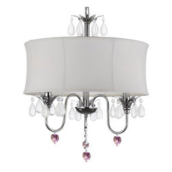 Crystal Chandelier with Large White Shade and Pink Crystal Hearts - This beautiful Chandelier is trimmed with Empress Crystal(TM)  Item must be hardwired. Professional installation is recommended. Requires (3 ) 40 watt bulbs - not included.
