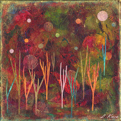 """Once Upon A Time, Ii (Original) by Laurie Kmen - Once Upon a Time, II, is part of a series of ethereal, dream-like landscapes created from layers of handmade paper, acrylic and watercolor paints and ink. The base is 10x10"""" stretched canvas, wired and ready to hang."""
