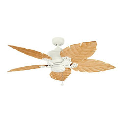 Kichler - Satin Natural White Outdoor Fan - This Outdoor Fan is part of the Crystal Bay Collection and has a Satin Natural White Finish. It is Outdoor Capable, and Wet Rated.