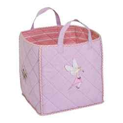 "Wingreen - WinGreen Toy Bag - Fairy - Our Fairy Toy Bag is lightly padded and is appliqued and embroidered with delicate fairies and flowers.  Rose multi-stripe lining and rose mini-gingham trim. Machine washable. Size: 15.75"" x 15.75"""