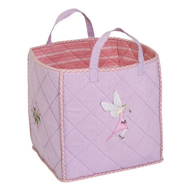 """Wingreen - WinGreen Toy Bag - Fairy - Our Fairy Toy Bag is lightly padded and is appliqued and embroidered with delicate fairies and flowers.  Rose multi-stripe lining and rose mini-gingham trim. Machine washable. Size: 15.75"""" x 15.75"""""""