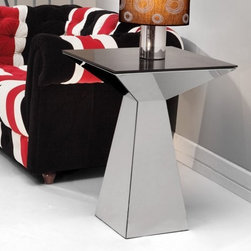 "Zuo Modern Tyrell End Table - Add a distinctive shape and style to any room with the modern design of the Zuo Modern Tyrell End Table. This table makes a perfect accent to any contemporary decor and features an eye catching geometric design. It's made with a polished stainless steel base and given a tempered glass top. Enjoy a touch of minimalist urban chic in your living space with this fun and funky piece. About Zuo ModernZuo Modern designs products with a simple philosophy in mind: clean modern shapes combined with classic colors. All Zuo Modern products are put through rigorous processes to ensure quality materials and production ensuring that your item reaches you in top condition. Yet Zuo pieces are modestly priced for today's consumers. Zuo works to inspire a sense of value and worth along with the significance of aesthetics. If it passes the """"Wow this feels solid"""" test along with the """"This looks amazing"""" and the """"What a great price"""" test you know it's a Zuo product."