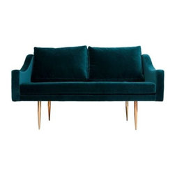 Florence A Sofa - This little teal love seat is perfect. I love the rich color and texture mixed with those gorgeous brass legs.