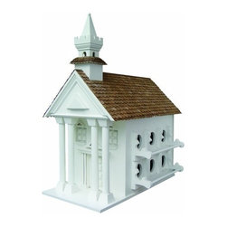 Home Bazaar, Inc. - Town Hall For Purple Martins - This Classic New England Town Hall is designed to accommodate the gregarious Purple Martin. It has 6 compartments on each side for a total of 12 rooms and 2 in entry holes. The roof is constructed of western red cedar.