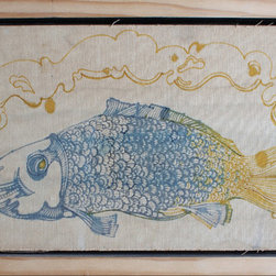 """smoked"" Artwork - A drawing of a fish on canvas. Mounted and framed in pine"