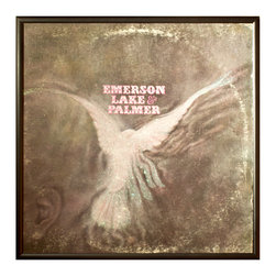 """Glittered Emerson Lake and Palmer Album - Glittered record album. Album is framed in a black 12x12"""" square frame with front and back cover and clips holding the record in place on the back. Album covers are original vintage covers."""