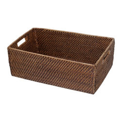 Eco Displayware - Large Square Corner Shelf Rattan Basket - Great for closet, bath, pantry, office or toy and game storage. Earth friendly. Pictured in Dark Brown. 22 in. L x 14 in. W x 8 in. H (8.96 lbs.)These natural colored baskets add warmth and charm and keep you organized.