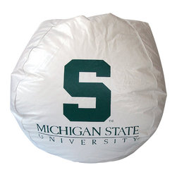 Bean Bag Boys - Bean Bag Boys Vinyl Bean Bag Chair in Michigan State Spartans - Pear-shaped design offers back support or rounded appearance as needed. Complies with voluntary CPSC Guidelines for zipper closures. 100% Recyclable Product. Product is Refillable Proudly made in the U.S.A. Double-Stitched with Clear Nylon for added Strength.
