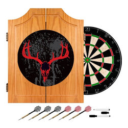 Trademark Global - Hunt Skull Wood Dart Cabinet Set - Includes self healing sisal fiber dartboard, six steel tipped darts, dry-erase scoreboard, out chart, marker and mounting supplies. Self healing sisal fiber. Removable number ring. Full color art. Dovetail joints. Beveled doors with metal hingers. Made from pine. Natural finish. No assembly required. Board: 18 in. Dia.. Overall: 20.5 in. W x 3.5 in. D x 24.75 in. H (23 lbs.)Bring the game to your game room, garage or collection with a full color logo beveled wood dart cabinet. Enjoy competition among friends while pre-gaming, during halftime or at the after party. With a full color logo beveled wood dart cabinet you're guaranteed to have fun no matter what the score!