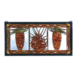 "Meyda Tiffany - 36""W X 18""H Northwoods Pinecone Stained Glass Window - This hand crafted Meyda Tiffany original stained glass window of Woodland Brown pine and spruce cone with Evergreen needles against an Azure Blue sky are bordered with a rustic motif in matching colors. A solid brass hanging chain and brackets are included."