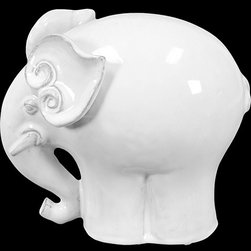 """Benzara - Amazing Ceramic Elephant with Beautiful Ear Design in White (Large) - Simply adorable, the Amazing Ceramic Elephant with Beautiful Ear Design in White (Large) is a must have for adorning your home. This exquisitely carved figurine resembles an elephant with elegantly designed ears, huge trunks and huge legs. Let this elegant creation accentuate and imbue your home with charm and let it enthrall and entertain guests and family members alike. The dimensions of the Amazing Ceramic Elephant with Beautiful Ear Design in White (Large) are 10""""x7.5""""x10""""H. Ceramic; White; 10""""x7.5""""x10""""H; Dimensions: 10""""L x 8""""W x 10""""H"""