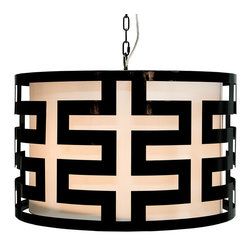 """Worlds Away - Worlds Away Hicks Black Lacquer Greek Key Pendant - The modern Worlds Away Hicks pendant exudes contemporary geometric allure. A bold black lacquer finish accents the round light fixture's compelling Greek key design. 24"""" Dia x 15""""H; Black lacquer; White interior shade; Includes canopy and chain; Accepts one 60W bulb (not included)"""