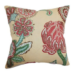 "The Pillow Collection - Samarinda Floral Pillow Canary 18"" x 18"" - Add a contemporary twist to your living room or bedroom by sprucing it up with this floral throw pillow. This accent pillow comes with a fancy floral print pattern in shades of blue, pink, red, white, green and natural. This decor pillow is romantic and feminine, which is ideal for your sofa, bed or chairs. This inviting square pillow is a perfect statement piece on its own. Made from a high-quality 100% linen fabric. Hidden zipper closure for easy cover removal.  Knife edge finish on all four sides.  Reversible pillow with the same fabric on the back side.  Spot cleaning suggested."