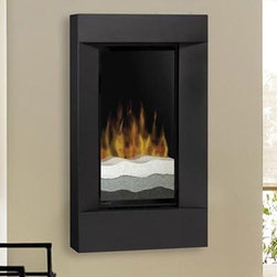 Dimplex Flat Wall Mount Electric Fireplace with Tri Colored Sand and Black Trim - Tri-colored sand gives the Dimplex Square Trim Black Wall-Mount Electric Fireplace the look of modern art. This fireplace is wall-mounted so can easily be added to any room. Squared steel trim finished in sleek black will add a clean modern element along with inviting warmth to any setting. A remote control comes with this electric fireplace so you can enjoy the warmth and ambience of a fire with the touch of a button. Control the heat with the thermostat or enjoy the flame without heat in warmer months. For a clean professional appearance the plug kit can be removed for hard-wire installation. This fireplace features the most attractive realistic flame technology on the market so you can enjoy a fire whenever you're ready to unwind. It burns clean green and cheap--no emissions or carbon monoxide and it heats up to a 400 square foot room for only pennies an hour.Instant ambienceWith realistic leading-edge flame technology it provides instant ambience and the romance of a wood fire.Instant heatFan-forced heat quietly provides nearly 5 000 BTU/hr of instant soothing warmth.Optional heatYear-round comfort at the push of a button.No venting requiredThis electric fireplace can be installed on any wall.Just plug it inSimply plug into any standard household electrical (120V) outlet switch on and enjoy.No moisture problemsSafe electric operation does not contribute to the concerns that come with some unvented gas products. Does not contribute to indoor moisture mold or ventilation problems.