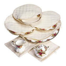 Richards Homewares - China Storage Accessory Case Holder, Set of 6 - Protect your fine china and porcelain from chips and dust with this 6-piece Accessory Case Holder. Great for storage, the Accessory Case Holder individually fits 6 pieces of your valuable dishware. The canvas quilt material gives extra padding to prevent any breakage. And the self-correcting nylon zippers allow stacking and tight storage. These storage sets do not unzip all the way around, however they do unzip approximately 1/2 of the way and the fact that these cases are soft and pliable makes it easy to insert.