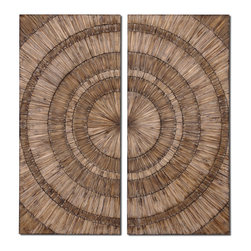 Natural Wood Chip Bull's Eye Wall Art - *Hand pieced natural wood chips with a burnished wash are used to create this stylish wall art.