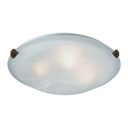 Artcraft - Clips 2-lt Flush Mount - Small flush mount with semi-clear white glass in Antique Brass finish.