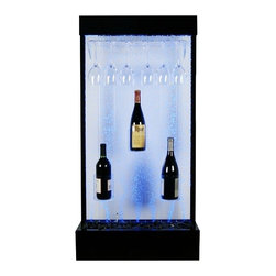 "Lamps Plus - Callon Water Bubble Fountain - Water bubble fountain. Features a wine rack. Holds 6 large glasses or 10 small glasses and 3 bottle holders. Includes wireless controller. 20 functions for light display. Perfect for indoors. 47"" high. 24"" wide. 8"" deep.  Indoor water bubble fountain with bottle and glass holders.  Metal construction.  Dark metal finish.  Features a wine rack.  Holds 6 large glasses or 10 small glasses and 3 bottle holders.  Includes LED accent lights.  20-function remote controls light display.  Pump cord and all necessary parts included.  Measures 47"" high 24"" wide 8"" deep."