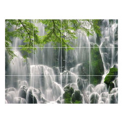 Picture-Tiles, LLC - Waterfall Picture Bathroom Shower Tile Mural  36 x 48 - * Waterfall Picture Bathroom Shower Tile Mural 2051