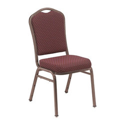 "National Public Seating - Fabric Padded Stack Chair - Set of 2 (Diamond - Color: Diamond BurgundyYou'll be sitting pretty in these stackable banquet style chairs.  The seats and backs are fabric upholstered in navy, gold or burgundy with different frame details.  18 gauge steel frame has self leveling glides.  Seat is 19 inches high.  It features a concealed double back for the ultimate finish, and hardwearing construction from strong 7/8"" square 18-gauge steel tubing. * Set of 2. Crown style. Concealed double back. Waterfall seat. Padded with 2 in. of 1.8 lb. high density A grade foam. Double stitched box seat. Institutional grade teflon treated fabrics rated to 30,000 double rubs and 0.88 mm thick vinyl. Self-leveling double flower scuff floor resistant glides. Fabric and foam are Cal-117 rated. Steel contains 30-40% of post-consumer waste (recycled). Meets ANSI and BIFMA standards. Warranty: Five years for material. Made from rugged 0.88 in. square 18-gauge steel tubing. 17 in. W x 23 in. D x 36 in. HSilhou-ette stacker for the most upscale environments."