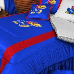 Sports Coverage - Kansas Jayhawks NCAA Bedding - Sidelines Comforter and Sheet Set Combo - Queen - This is a great Kansas Jayhawks NCAA Bedding Comforter and Sheet set combination! Buy this Microfiber Sheet set with the Comforter and save off our already discounted prices. Show your team spirit with this great looking officially licensed Comforter which comes in new design with sidelines. This comforter is made from 100% Polyester Jersey Mesh - just like what the players wear. The fill is 100% Polyester batting for warmth and comfort. Authentic team colors and logo screen printed in the center. Microfiber Sheet Set have an ultra-fine peach weave that is softer and more comfortable than cotton! This Micro Fiber Sheet Set includes one flat sheet, one fitted sheet and a pillow case. Its brushed silk-like embrace provides good insulation and warmth, yet is breathable. It is wrinkle-resistant, stain-resistant, washes beautifully, and dries quickly. The pillowcase only has a white-on-white print and the officially licensed team name and logo printed in team colors. Made from 92 gsm microfiber for extra stability and soothing texture. Sheet Sets are plain white in color with no team logo.   Includes:  -  Flat Sheet - Twin 66 x 96, Full 81 x 96, Queen 90 x 102.,    - Fitted Sheet - Twin 39 x 75, Full 54 x 75, Queen 60 X 80,    -  Pillow case Standard - 21 x 30,    - Comforter - Twin 66 x 86, Full/Queen 86 x 86,