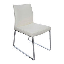 Nuevo Living - Tanis Dining Chair - White - Modern Furniture by Nuevo - HGAF246 - Add modern flair to your dining room with this chic and gorgeous Tanis dining chair. This sleek modern chair features a very nice white vinyl with chromed steel frame. With unsurpassed style and comfort, the Tanis is the perfect addition to your living space. This dining chair also makes for an ideal waiting room and reception area chair for your offices. Bring a splash of style to any setting with this sophisticated Tanis dining chair. Available in white, black,