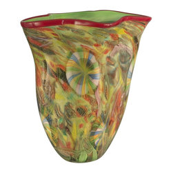 Dale Tiffany - Dale Tiffany Rosalie Hand Blown Art Glass Vase X-20111VA - From the Rosalie Collection, this Dale Tiffany vase is made from hand blown art glass, ensuring it will be a conversation piece in your home. The eye-catching blend of colors create a stunning and unique, one-of-a-kind pattern ensuring that no two pieces are alike.