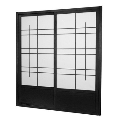 Oriental Furniture - 7 ft. Tall Eudes Shoji Sliding Door Kit (Double - Sided) - Black - This fantastic Eudes Shoji Sliding Door Kit comes with two sliding doors, top and bottom tracks, and right and left door jambs. Its wonderful modern design has an art deco feel with large geometric lattice work.