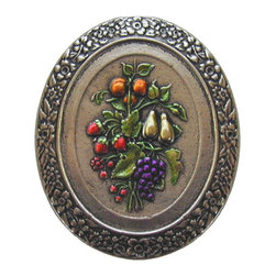 """Inviting Home - Fruit Bouquet (hand-tinted bright nickel) - Hand-cast Fruit Bouquet Knob in hand-tinted bright nickel finish 1-3/8""""W x 1-1/2""""H Product Specification: Made in the USA. Fine-art foundry hand-pours and hand finished hardware knobs and pulls using Old World methods. Lifetime guaranteed against flaws in craftsmanship. Exceptional clarity of details and depth of relief. All knobs and pulls are hand cast from solid fine pewter or solid bronze. The term antique refers to special methods of treating metal so there is contrast between relief and recessed areas. Knobs and Pulls are lacquered to protect the finish. Alternate finished are available."""