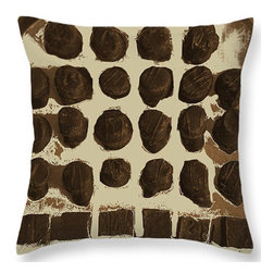 Suzanne Powers - Chocolates on a Pillow - Chocolates displayed on a silver tray in a painterly style in brown/white pillow.  Chocolate art for the kitchen or wherever there is a chocolate lover!