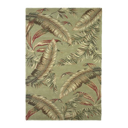 """Kas - Tropical Ferns Sage Sparta Floral 2'6"""" x 10' Runner Kas Rug  by RugLots - Our Sparta Collection is an exclusively designed line of hand-tufted carpets with an antique finish. These rugs are made in China using high density Chinese wool. Classic and new designs in floral and other styles have been constructed using current color trends. These rugs are finished with an antique vegetable-dyed look and abrash effect. The combination of fresh color and design and antique finish gives this collection unique trend-setting characteristics."""