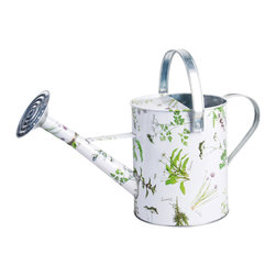 Esschert Design - Herb Print Watering Can - Zinc Herb Print Watering Can 18inx 8.3inx 8.9in