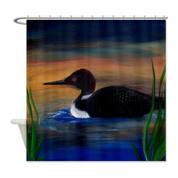 usa - Loon Lake Shower Curtain - Beautiful shower curtains created from my original art work. Each curtain is made of a thick water resistant polyester fabric. The permanently applied art work appears on the front side with the inside being white. 12 button holes for easy hanging, machine washable and most importantly made in the USA. Shower rod and rings not included. Size is a standard 70''x70''