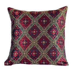"Banarsi Designs - Hand Embroidered Brocade Pillow Cover, Set of 2, Scarlet Red, 16"" X 16"" - Beautiful accent pillow cover set features sparkling, hand embroidered stone work and a sophisticated brocade design. This stunning pillow cover set is the perfect addition to your living room, den or sitting area. Its 16x16 size allows it to fit almost any standard sized throw pillow, and the hidden zipper in the back gives  you the ability to switch out the look and feel of your throw pillows easily. The stylish brocade design catches the lighting perfectly with hand-embroidered crystals and shimmers with metallic thread work.  You can change the aura of your home with the seasons, or whenever you feel like it. You''ll love how simple it is to instantly update the look in your home by just putting these chic, stylish pillow covers on your existing throw pillows. Perfect for sofas, chairs, futons, chaise lounges, beds and more. Made in India."
