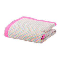 "Petit Pan - Japanese Style Baby Blanket - Put your cherub down on this sweet baby blanket, and she might never want to rest or play anywhere else. Sewn from colorful printed fabric that will draw your baby's eyes and stimulate her senses, the blanket is filled with ""just-right"" cushiony to support your baby whether she's sleeping or playing."