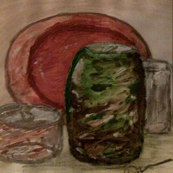 ~Sage Still Life~ (Original) by Cynthia Jackson - I painted this Painting wanting to give the feeling of the vase and Plate coming  toward you .:) *Cynthia