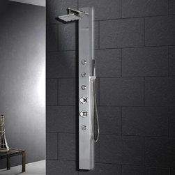 Atlas International Inc - Stainless Steel Shower Panel - Ariel - Ariel Shower Panels are fully loaded with Jets for Full Body Massage, Handheld and Rainfall Showerhead for Ultimate Experiences to greatly increase your therapeutic experience.