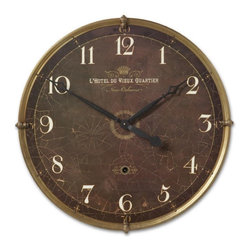 Uttermost - Cracked Brown Paint Vintage Kitchen Wall Clock-30 in. - Vintage  Hotel  Du  Vieux  Quartier  Clock          Vintage  Clock  with  crackled  and  weathered  clock  face  on  wood  laminate.  The  outer  rim  is  constructed  from  antiqued  nickel-plated  cast  brass.  Includes  an  internal  pendulum.  Hotel  Du  Vieux  Quartier  style  clock  with  white  roman  numerals.  Requires  1-C  battery.