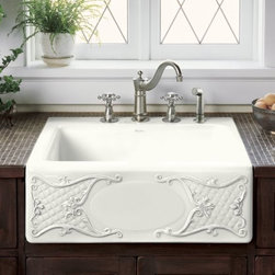KOHLER - KOHLER K-14571-T1-0 Tidings Design on Alcott Tile-In Sink with Four-Hole Drillin - KOHLER K-14571-T1-0 Tidings Design on Alcott Tile-In Sink with Four-Hole Drilling in WhiteDecorated 19th-century dinnerware serves as the inspiration for the elegant artistry of Tidings. The design sets a serene, traditional tone with detailed relief carving on the Alcott apron-front sink. This tile-in model features a four-hole faucet drilling and includes a white bottom basin rack.