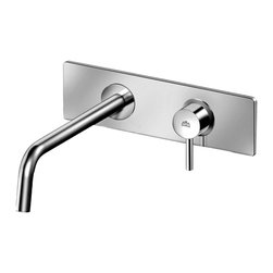 Modo Bath - Stick SK 101 Single Lever Wall Mounted Bathroom Faucet - Stick SK 101 Concealed Single Lever Wall Mounted Bathroom Faucet, with Wall Spout, Aerator and Rectangular Plate