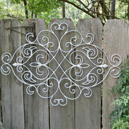 White Shabby Chic Metal Wall Decor, Fleur-de-lis by The Shabby Shak - If you love the garden look, then adding a piece of wrought iron artwork is the answer for your statement wall. Used alone or grouped together, iron pieces add depth and texture to and maximizing the style of your living space.