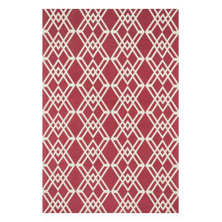 "Loloi Rugs - Loloi Rugs Felix Collection - Red / Ivory, 2'-3"" x 3'-9"" - With bold patterns and fun color options, Felix is an ideal collection for any modern interior. These simple, geometricdesigns are printed in India onto an all-cotton surface, creating a look that's casual but still eye-catching."