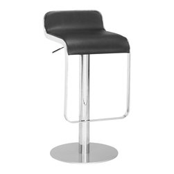 Zuo Modern - Equino Barstool Black - With its slight lip back and flat seat, the Equnio is comfortable and stylish. It has a washable leatherette seat, chrome plated steel frame, matte silver base, and adjustable lift from counter to bar.