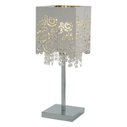 ET2 - ET2 E21700 Lattice 1 Light Table Lamp - ET2 E21700 One Light Table LampWith a bold experimental artistic feel, the Lattice single light table lamp showcases a very modern cube outline with minute perforations creating swirling patterns of light while the inner curtain of beautiful crystal elements add a gorgeous sparkle to the ensemble. The Jetson will spice up any decor with its fresh take on traditional lighting.ET2 E21700 Specifications: